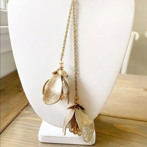 LOFT gold Long Hanging Flower Statement Necklace